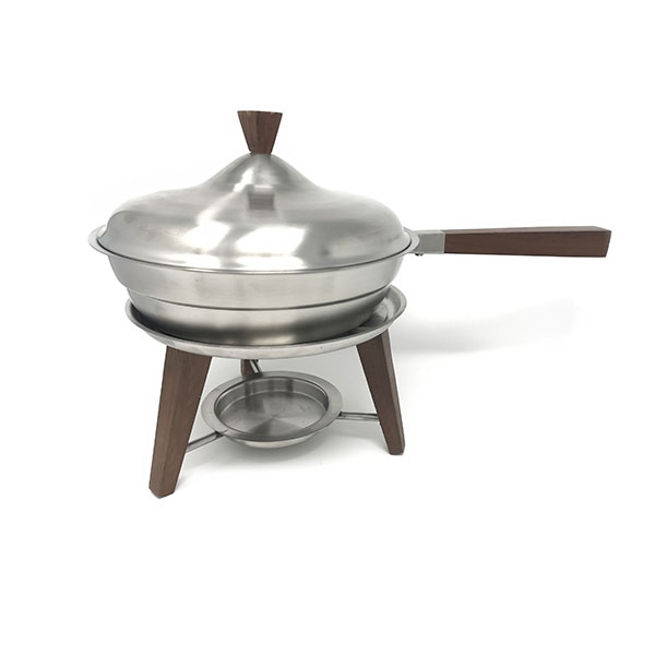 Wood Handle Brush Stainless Round Chafer 2Qt